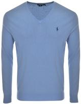 Ralph Lauren Slim Fit V Neck Jumper Blue