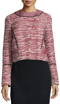 Proenza Schouler Long-Sleeve Asymmetric-Placket Jacket, Crimson Combo