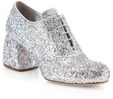 Miu Miu Glitter Oxford Block-Heel Pumps