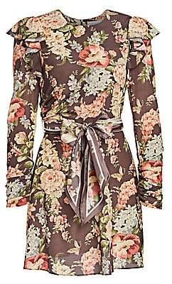 Zimmermann Women's Eye Spy Floral Tie-Waist Mini Dress