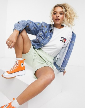 Tommy Jeans x Looney Tunes all over icon denim jacket two-piece in light blue wash