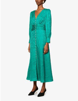 Olivia Rubin Valentina leopard-jacquard silk midi dress