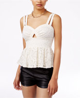 Material Girl Juniors' Lace Cutout Peplum Top, Only at Macy's