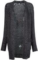 R 13 ripped detail knitted cardigan