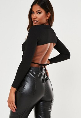 Missguided Petite Black Rib Cut Out Back Crop Top