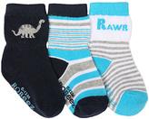 Robeez Navy & Black RAWR Three-Pair Socks Set