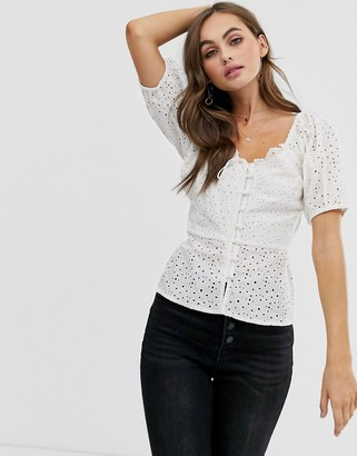 Asos Design DESIGN short sleeve tea blouse in broderie