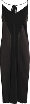 Halston Paneled Crepe, Satin And Chiffon Midi Dress
