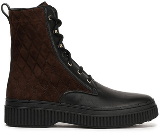 Tod's Quilted Suede And Leather Ankle Boots