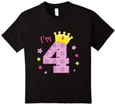 Kids I'm 4 Birthday T-Shirt Four Year Old Gift Tee for Girls