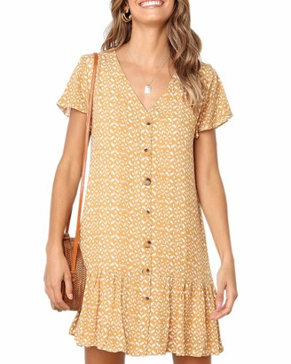 Imysty Womens Polka Dot V Neck Button Down Ruffles Loose Mini Short T-Shirt Dress - - Medium