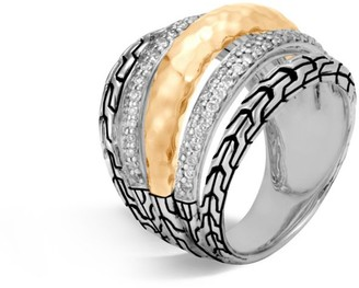 John Hardy Classic Chain Diamond, Hammered 18K Gold & Silver Ring