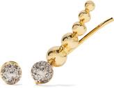Noir Gold-tone crystal earring and ear cuff set