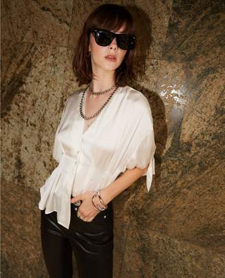 The Kooples Floaty white shirt with knotted sleeves