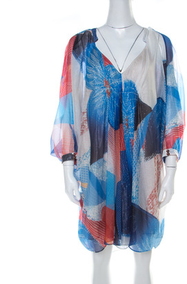 Diane von Furstenberg Blue Batik Land Print Fleurette Kaftan Dress M
