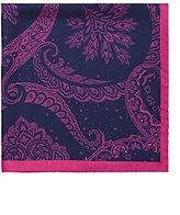 Barneys New York Men's Paisley Silk Pocket Square-NAVY
