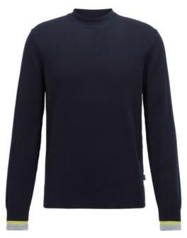 HUGO BOSS Cotton Sweater With Striped Cuffs - Dark Blue
