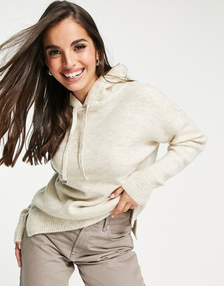 New Look knitted hoodie in oatmeal