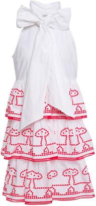 Ganni Pussy-bow Embroidered Cotton-poplin Mini Dress