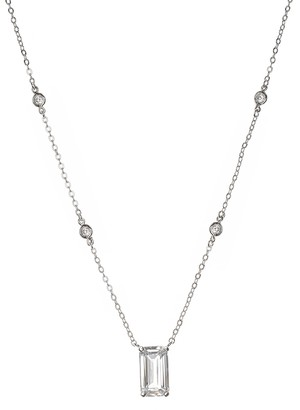 Cz By Kenneth Jay Lane Bezel Set Round & Prong Set Baguette CZ Station Necklace