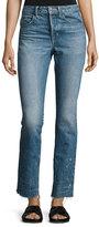 Helmut Lang Distressed Faded Straight-Leg Jeans, Light Blue