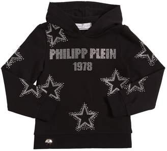 Philipp Plein Junior EMBELLISHED COTTON SWEATSHIRT HOODIE