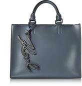 Karl Lagerfeld K/Metal Signature Thunder Gray Leather Shopper Bag