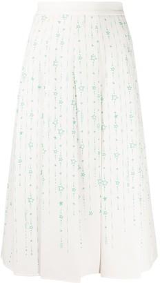Elisabetta Franchi Star Print Flared Midi Skirt