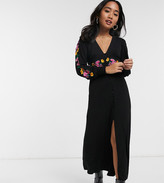Asos DESIGN Petite long sleeve maxi embroidered tea dress