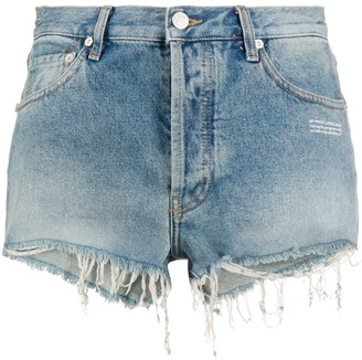 Off-White Raw Hem Denim Shorts