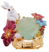 Les Nereides Fantasy Garden Rabbit And Stone And Flower Ring.