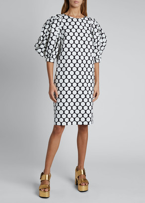 Dries Van Noten Dali Polka-Dot Puff-Sleeve Cotton Dress