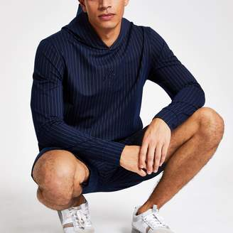 River Island Mens Navy pinstripe Maison Riviera slim fit hoodie