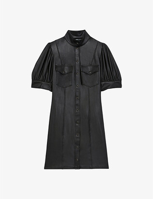 The Kooples High-neck faux-leather mini dress