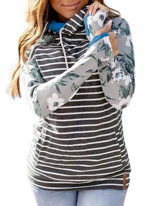 CORAFRITZ Women's Drawstring Hooded Long Sleeve Thumb Hole Striped Sweatshirts Pullover Hoodies Top Gray