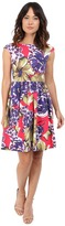 Donna Morgan Sleeveless Printed Cotton Sateen Tie Back Fit and Flare