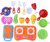 Chinatera Kids Girls 17Pcs Kitchen Utensils Cooking Pots Pans Food Dishes Role Playing Playhouse Toy