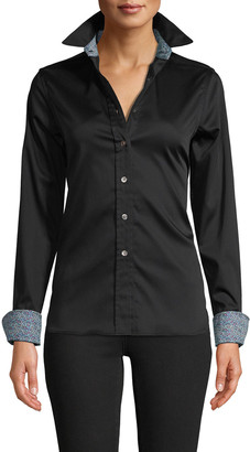 Robert Graham Priscilla Solid Stretch Cotton Shirt