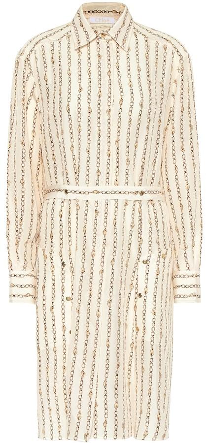 Chloé Printed silk-poplin shirt dress