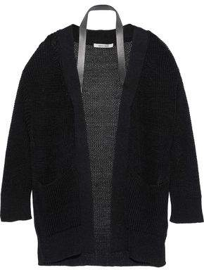Roberto Cavalli Leather-trimmed Open-knit Silk Cardigan