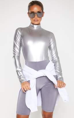 PrettyLittleThing Silver Metallic High Neck Long Sleeve Bodysuit