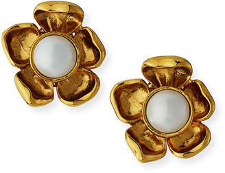 Jose & Maria Barrera Pearly Flower Clip Earrings