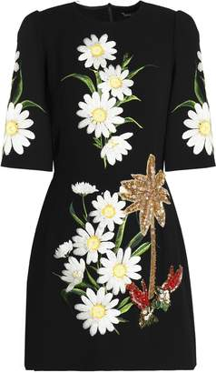 Dolce & Gabbana Embellished Wool-crepe Mini Dress