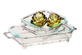 The Well Appointed House Set of 2 Casserole Dishes with Nickel Bamboo Detail-Available in Two Different Sizes