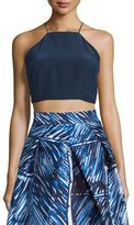 Milly Sleeveless Square-Neck Crop Top, Navy