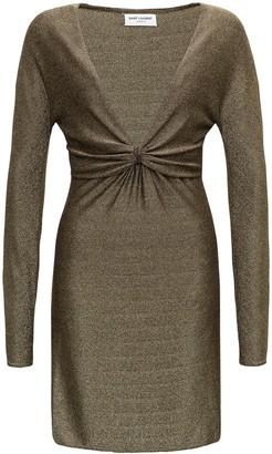 Saint Laurent Lurex Polyamide Long Sleeves V Neck Dress
