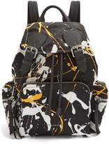 Burberry Paint-effect leather-trimmed backpack