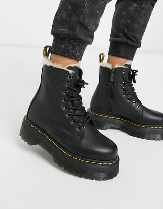 Dr. Martens Jadon fur lined chunky ankle boot in black