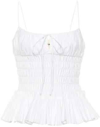 KHAITE The Dagny smocked cotton camisole
