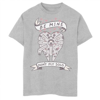 Star Wars Boys 8-20 Valentines Don't Fly Solo Ship Heart Tee